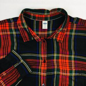 Old Navy Button Down Shirt Plaid Flannel Dress